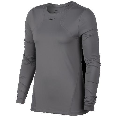 (取寄)ナイキ レディース プロ オール オーバー メッシュ ロングスリーブ トップ Nike Women's Pro All Over Mesh Long-Sleeve Top Gunsmoke Black