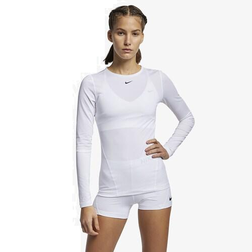 (取寄)ナイキ レディース プロ オール オーバー メッシュ ロングスリーブ トップ Nike Women's Pro All Over Mesh Long-Sleeve Top White Black