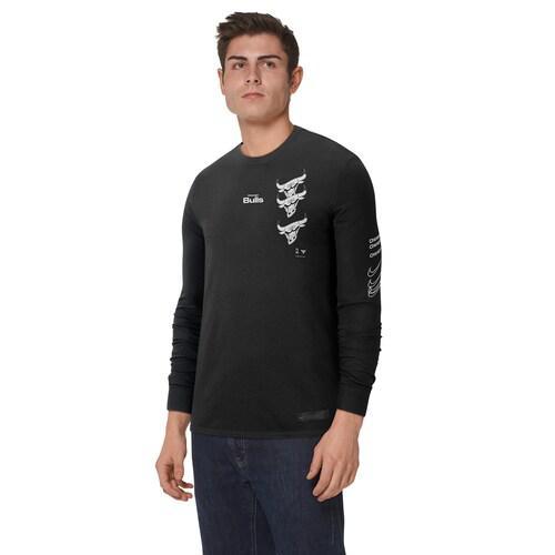 (取寄)ナイキ メンズ NBA コートサイド ディスラプション ロングスリーブ Tシャツ シカゴ ブルズ Nike Men's NBA Courtside Disruption L/S T-Shirt シカゴ ブルズ Black White