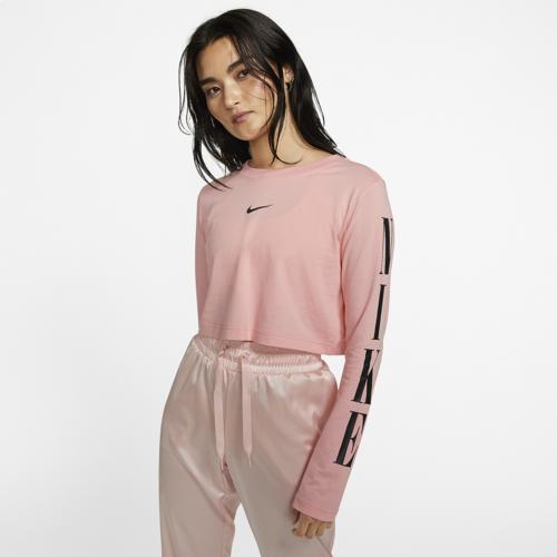 (取寄)ナイキ レディース ストリートウェア クロップ ロング スリーブ Tシャツ Nike Women's Streetwear Crop Long Sleeve T-Shirt Pink Gaze Black