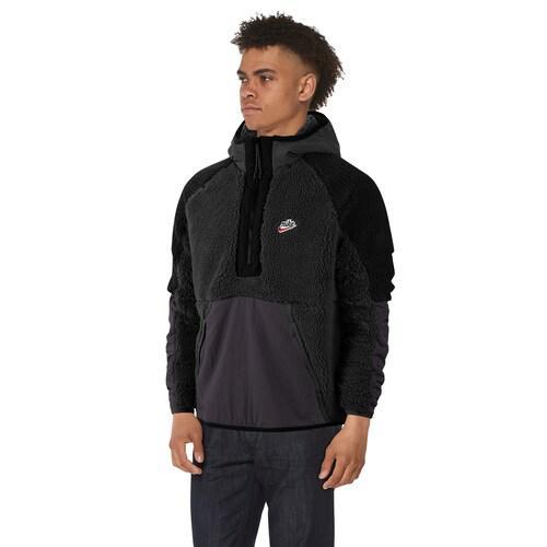 (取寄)ナイキ メンズ ヘリテージ エッセンシャル ハーフ ジップ シェルパ ジャケット Nike Men's Heritage Essentials Half Zip Sherpa Jacket Black Off Noir