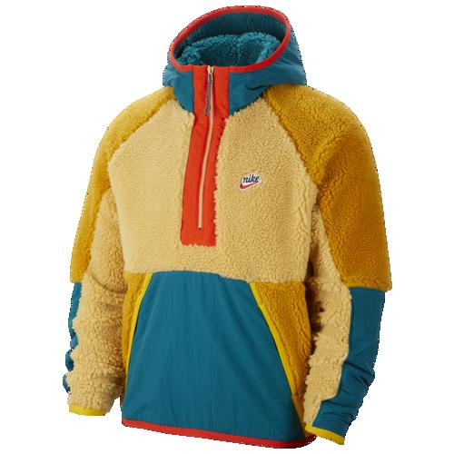 【クーポンで最大2000円OFF】(取寄)ナイキ メンズ ヘリテージ エッセンシャル ハーフ ジップ シェルパ ジャケット Nike Men's Heritage Essentials Half Zip Sherpa Jacket Club Gold Geode Teal Gold Suede