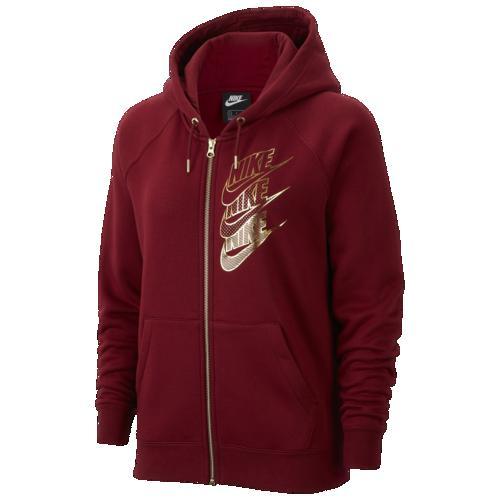 (取寄)ナイキ レディース パーカー グラム ダンク フル ジップ フーディ Nike Women's Glam Dunk Full Zip Hoodie Team Red Team Red Metallic Gold