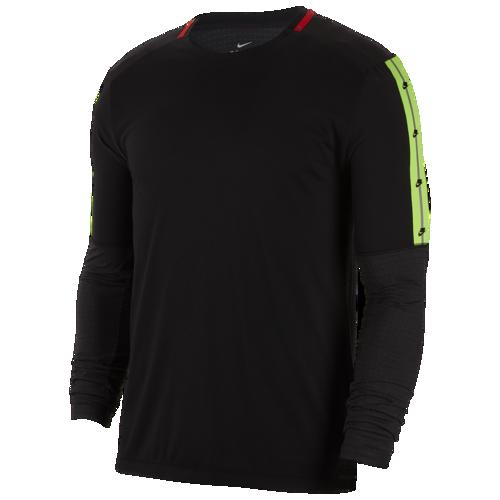 【エントリーでポイント10倍】(取寄)ナイキ メンズ Tシャツ 長袖 ロンT ワイルド ラン ロングスリーブ トップ Nike Men's Wild Run L/S Top Black Off Noir Black