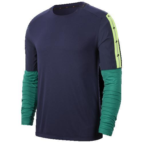 【エントリーでポイント10倍】(取寄)ナイキ メンズ Tシャツ 長袖 ロンT ワイルド ラン ロングスリーブ トップ Nike Men's Wild Run L/S Top Blackened Blue Mystic Green Black