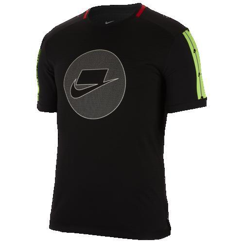 (取寄)ナイキ メンズ Tシャツ 半袖 ワイルド ラン ショートスリーブ ティー Nike Men's Wild Run S/S Tee Black Electric Green Pale Ivory