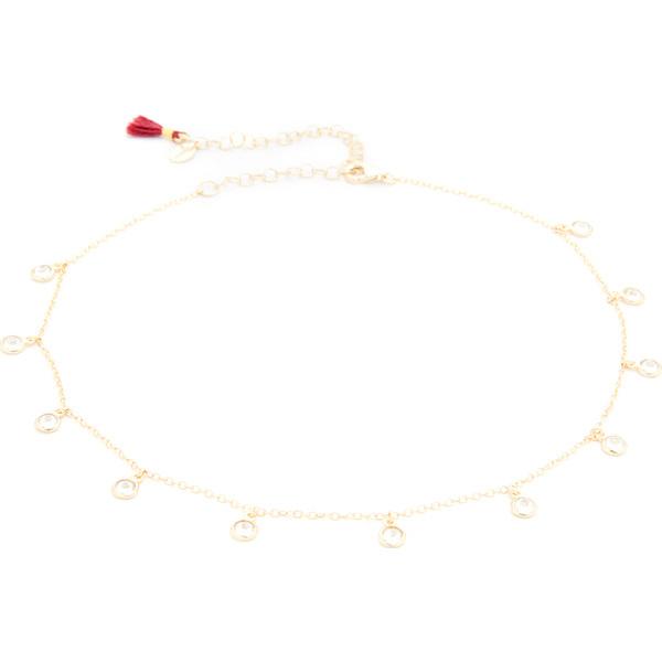 (取寄)Shashi Solitaire Drop Choker Necklace シャシ ソリティア ドロップ チョーカー ネックレス Gold