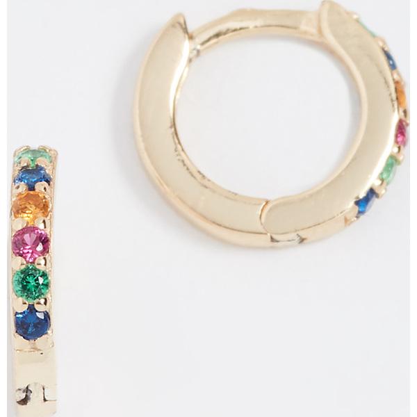 (取寄)Shashi Rainbow Katerina Pave Huggie Earrings シャシ レインボー カテリナ パヴェ ハギー ピアス Rainbow