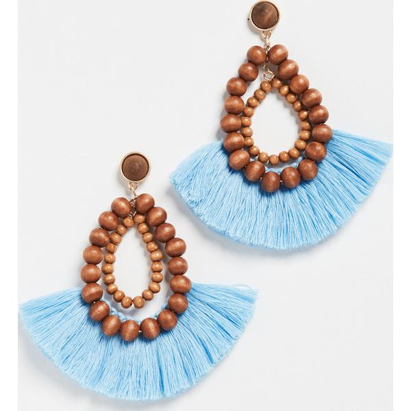 (取寄)シャシ リオ フリンジ ピアス Shashi Rio Fringe Earrings Brown Blue