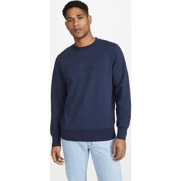 【エントリーでポイント10倍】(取寄)アーペーセー x ジョウンド ロゴ クルー ネック スウェットシャツ A.P.C. x JJJJound Logo Crew Neck Sweatshirt IakDarkNavy