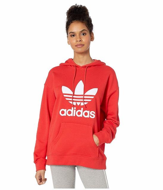(取寄)アディダス オリジナルス レディース トレフォイル  パーカー adidas originals Women Trefoil Hoodie Lush Red/White