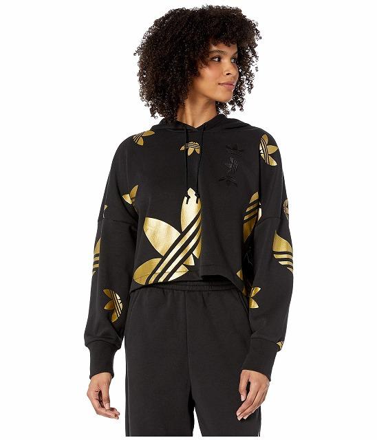 (取寄)アディダス オリジナルス レディース ラージ ロゴ クロップド  パーカー adidas originals Women Large Logo Cropped Hoodie Black/Gold Metallic