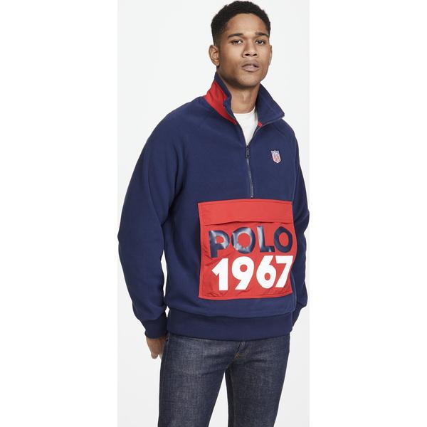【エントリーでポイント10倍】(取寄)ポロ ラルフローレン クオーター ジップ ロゴ スウェットシャツ Polo Ralph Lauren Quarter Zip Logo Sweatshirt Navy