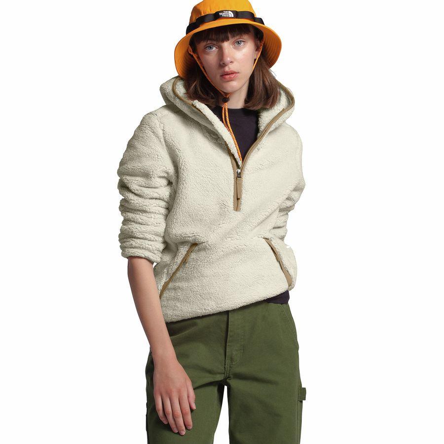(取寄)ノースフェイス レディース Campshire 2.0フーデッド プルオーバー フリース ジャケット The North Face Women Campshire 2.0 Hooded Pullover Fleece Jacket Vintage White/Kelp Tan