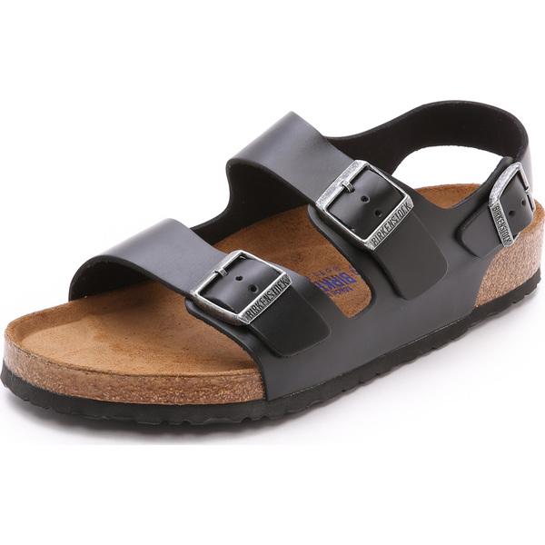 (取寄)ビルケンシュトック アマルフィ レザー ソフト フットベッド ミラノ サンダル Birkenstock Amalfi Leather Soft Footbed Milano Sandals Black