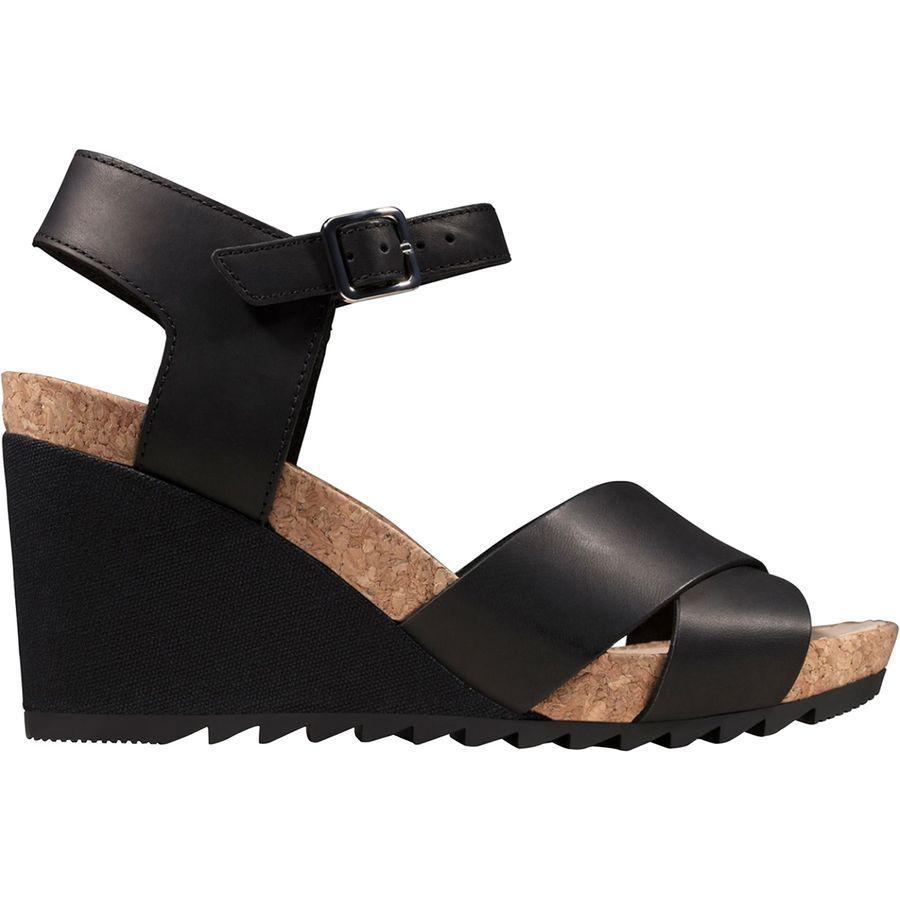 (取寄)クラークス レディース フレックス Sun サンダル Clarks Women Flex Sun Sandal Black Leather