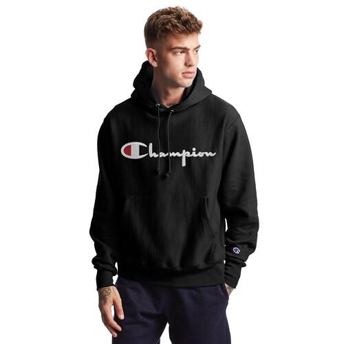 【エントリーでポイント10倍】(取寄)チャンピオン メンズ リバース ウィーブ スクリプト ロゴ フーディ Champion Men's Reverse Weave Script Logo Hoodie Black