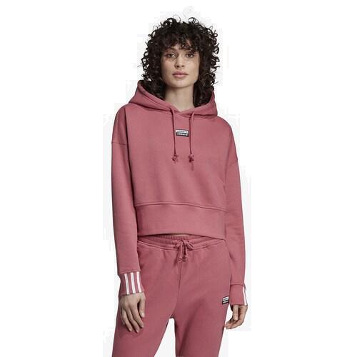 (取寄)アディダス レディース オリジナルス 'Reveal ユア ボイス クロップ フーディ Women's adidas Originals 'Reveal Your Voice' Crop Hoodie Trace Maroon