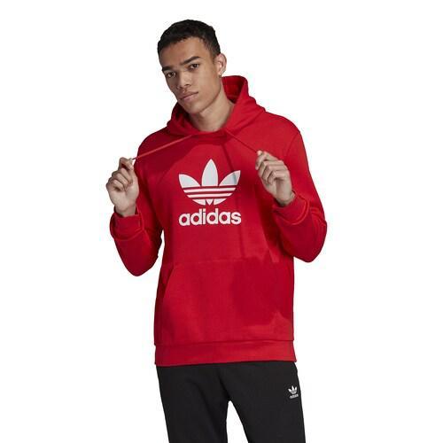 (取寄)アディダス メンズ オリジナルス トレフォイル プルオーバー フーディ Men's adidas Originals Trefoil P/O Hoodie Lush Red White