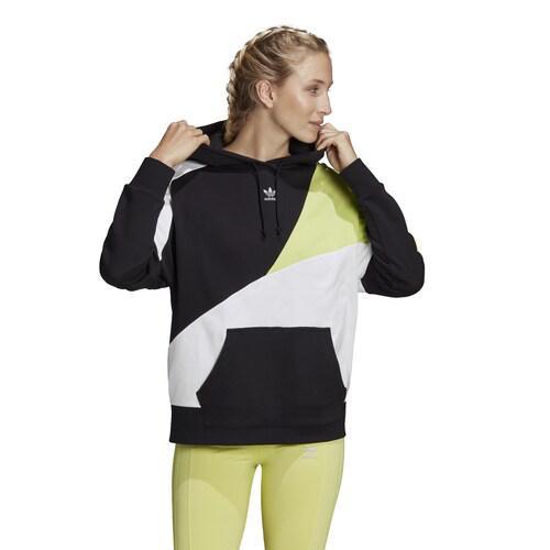 (取寄)アディダス レディース オリジナルス カラーブロック フーディ Women's adidas Originals Colorblock Hoodie Black Reflective Silver Semi Frozen Yellow