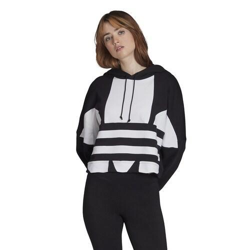(取寄)アディダス レディース オリジナルス アディカラー ビッグ トレフォイル クロップ フーディ Women's adidas Originals Adicolor Big Trefoil Crop Hoodie Black White