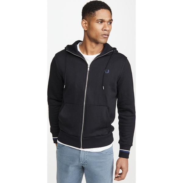 【エントリーでポイント10倍】(取寄)フレッドペリー フーデット ジップ スルー スウェットシャツ Fred Perry Hooded Zip Through Sweatshirt Black