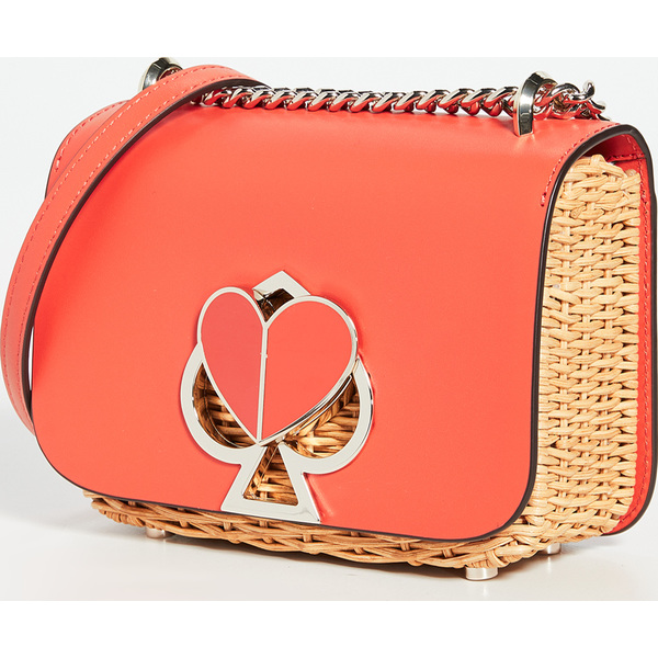 (取寄)ケイトスペード ニコラ ウィカー ツイストロック スモール コンバーチブル チェイン ショルダー バッグ Kate Spade New York Nicola Wicker Twistlock Small Convertible Chain Shoulder Bag Tamarillo