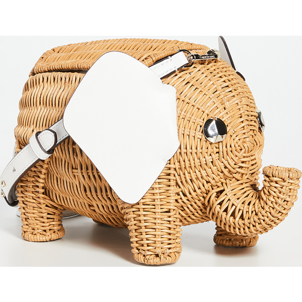 (取寄)ケイトスペード ウィカー タイニー エレファント クロスボディ バッグ Kate Spade New York Wicker Tiny Elephant Crossbody Bag OpticWhite
