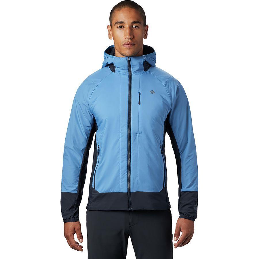 【マラソン ポイント10倍】(取寄)マウンテンハードウェア メンズ コア シーラス ハイブリッド パーカー Mountain Hardwear Men's Kor Cirrus Hybrid Hoodie Deep Lake