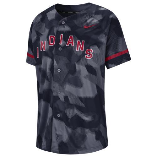 (取寄)ナイキ メンズ MLB フル バトン ジャージー クリーブランド インディアンス Nike Men's MLB Full Button Jersey クリーブランド インディアンス College Navy Camo