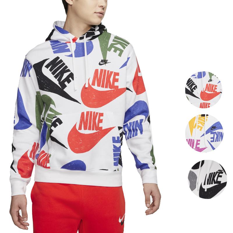 【エントリーでポイント10倍】ナイキ パーカー メンズ 裏起毛 ホワイト ブラック ブルー オレンジ レッド スウェットパーカー ロゴ AOP フーディ Nike Men's Logo AOP Hoodie Team Orange White Black