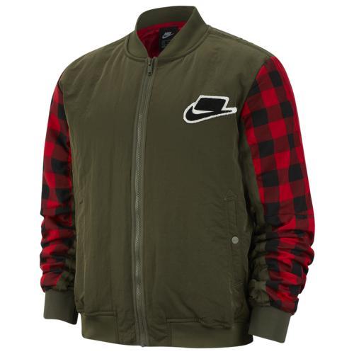 (取寄)ナイキ メンズ ボンバー フィル ジャケット Nike Men's Bomber Fill Jacket Cargo Khaki Gym Red