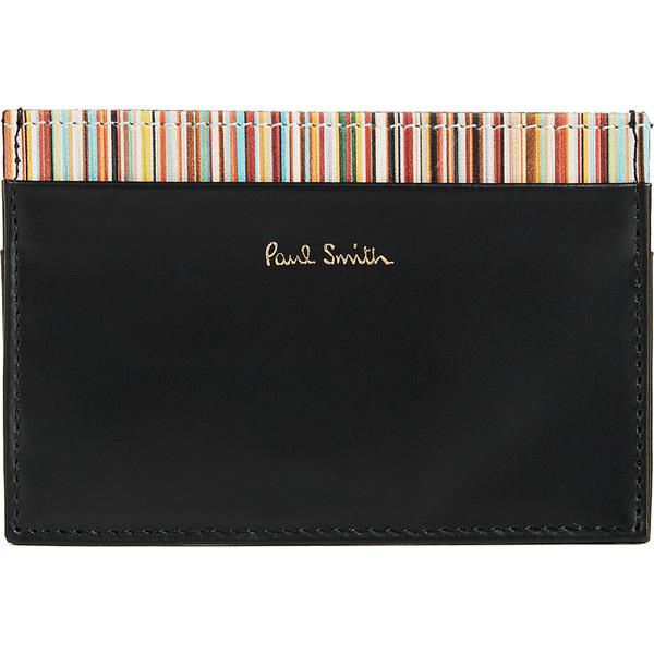 (取寄)ポールスミス インテリア マルチ ストライプ カード ケース Paul Smith Interior Multi Stripe Card Case Black