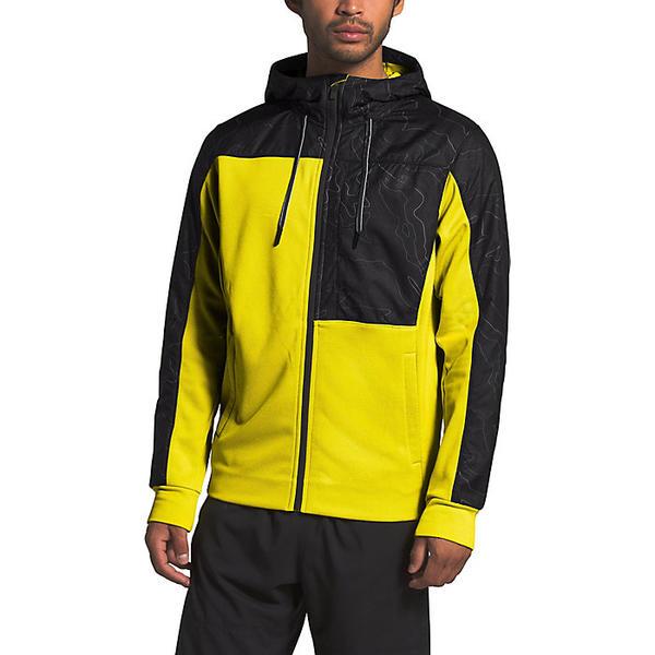 【エントリーでポイント10倍】(取寄)ノースフェイス メンズ エッセンシャル フリース フル ジップ フーディ The North Face Men's Essential Fleece Full Zip Hoodie TNF Lemon / TNF Black Topo Map Print