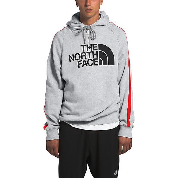 【エントリーでポイント10倍】(取寄)ノースフェイス メンズ ストライプド アンビション プルオーバー フーディ The North Face Men's Striped Ambition Pullover Hoodie TNF Light Grey Heather / Fiery Red