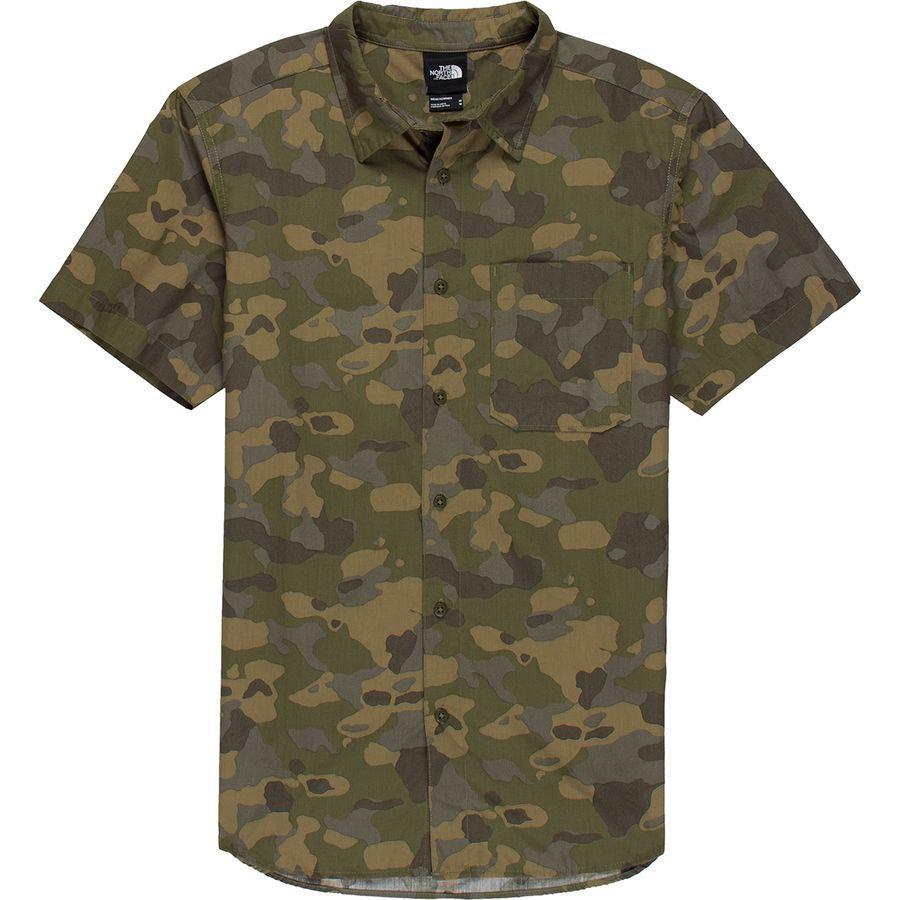 【エントリーでポイント10倍】(取寄)ノースフェイス メンズ ショート スリーブ ベイトレイル パターン シャツ The North Face Men's Short Sleeve Baytrail Pattern Shirt Burnt Olive Green Ponderosa Print