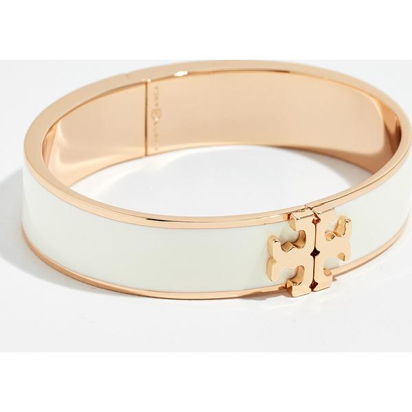 (取寄)トリーバーチ レイズ ロゴ エナメル ヒンジ ブレスレット Tory Burch Raised Logo Enamel Hinged Bracelet NewIvory ToryGold