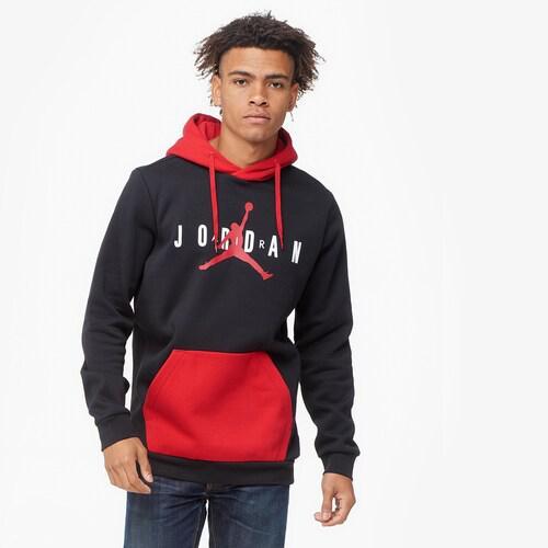 【エントリーでポイント10倍】(取寄)ジョーダン メンズ ジャンプマン エア フリース プルオーバー フーディ Jordan Men's Jumpman Air Fleece Pullover Hoodie Black Gym Red White