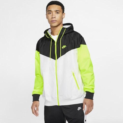 【エントリーでポイント10倍】(取寄)ナイキ メンズ ウインドランナー フーデット ジャケット Nike Men's Windrunner Hooded Jacket White Black Volt