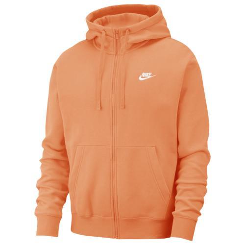 【エントリーでポイント10倍】(取寄)ナイキ メンズ クラブ フルジップ フーディ Nike Men's Club Full-Zip Hoodie Orange Trance White