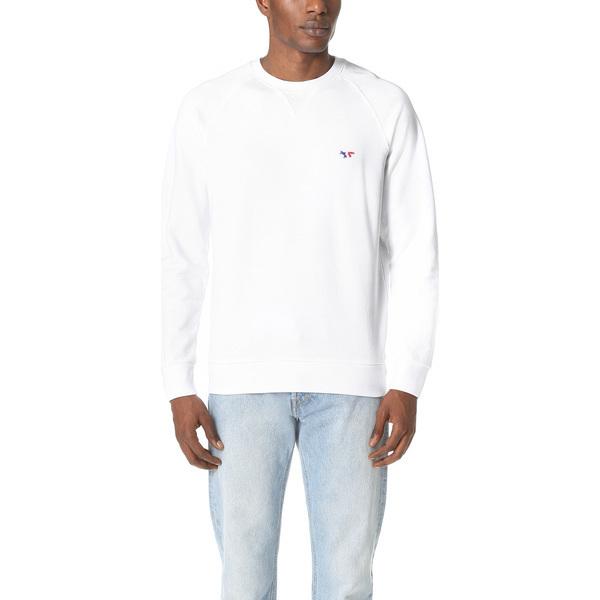 【エントリーでポイント10倍】(取寄)メゾンキツネ トリコロール フォックス パッチ スウェットシャツ Maison Kitsune Tricolor Fox Patch Sweatshirt White