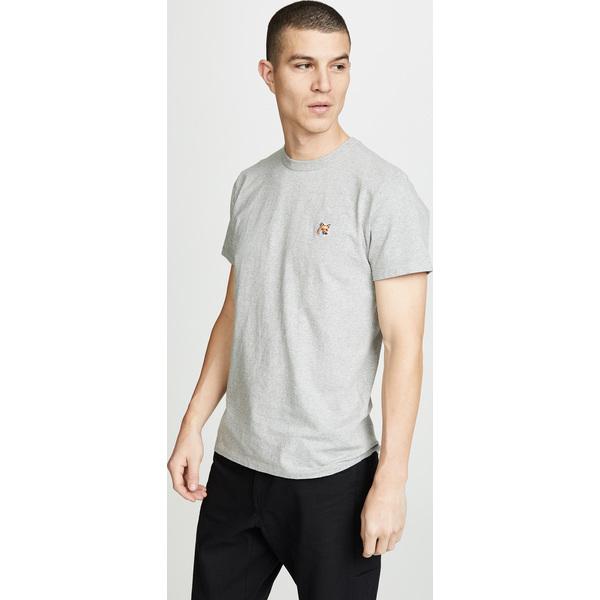 【エントリーでポイント10倍】(取寄)メゾンキツネ フォックス ヘッド パッチ Tシャツ Maison Kitsune Fox Head Patch T-Shirt GreyMelange