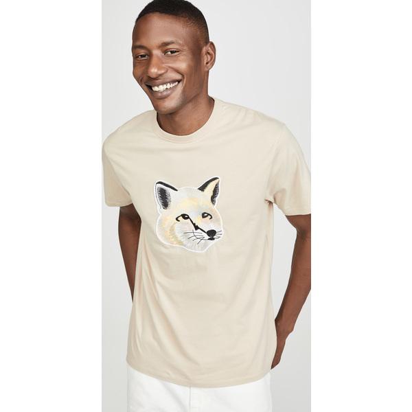 【エントリーでポイント10倍】(取寄)メゾンキツネ ビッグ エンブロイダー パステル フォックス ヘッド Tシャツ Maison Kitsune Big Embroidered Pastel Fox Head T-Shirt Beige