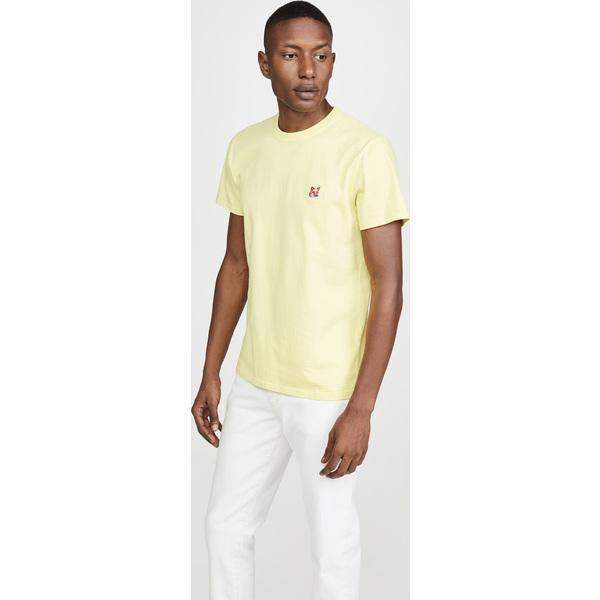【エントリーでポイント10倍】(取寄)メゾンキツネ スモール フォックス ヘッド パッチ Tシャツ Maison Kitsune Small Fox Head Patch T-Shirt Lemon