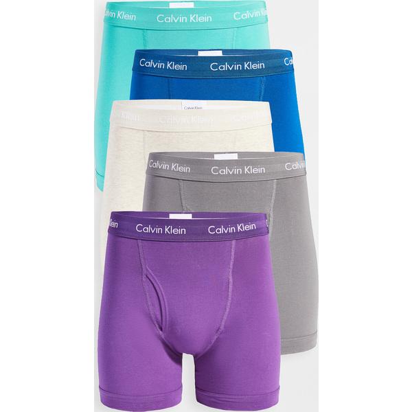 【マラソン ポイント10倍】(取寄)カルバンクライン アンダーウェア コットン ストレッチ 5 パック ボクサー ブリーフ Calvin Klein Underwear Cotton Stretch 5 Pack Boxer Briefs Verbena GreyShadow CraterLak