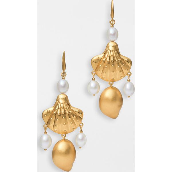 (取寄)トリーバーチ レディース シェル アンド パール ドロップ ピアス Tory Burch Women's Shell and Pearl Drop Earrings RolledBrass Pearl