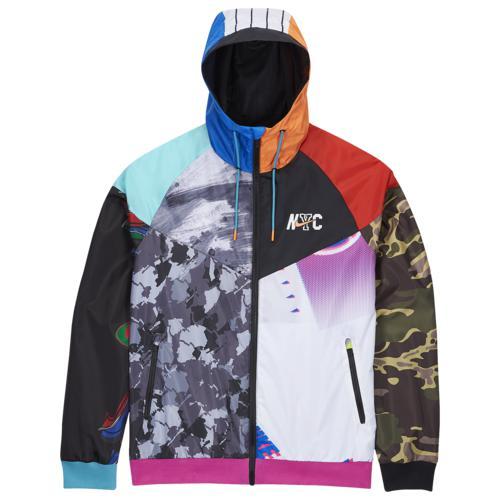 (取寄)ナイキ メンズ NYC ウインドランナー ジャケット Nike Men's NYC Windrunner Jacket Black Multi 送料無料
