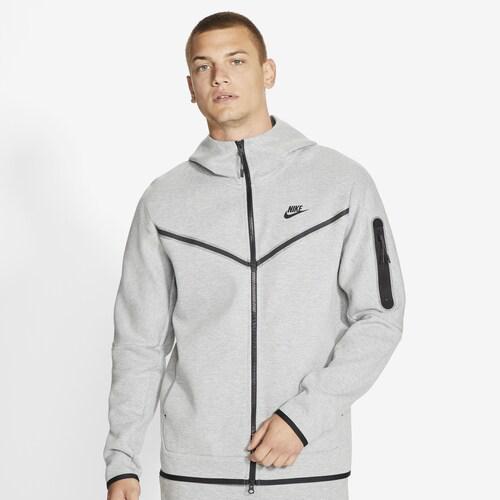(取寄)ナイキ メンズ パーカー テック フリース フルジップ フーディ Nike Men's Tech Fleece Full-Zip Hoodie Grey Heather Black