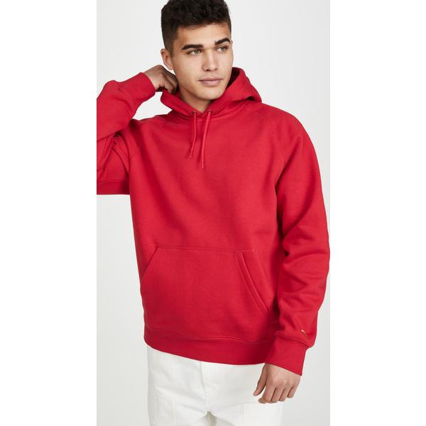 (取寄)カーハート ワークインプログレス メンズ チェイス フーデット スウェットシャツ Carhartt WIP Men's Men's Chase Hooded Sweatshirt EtnaRed