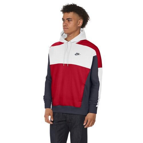 (取寄)ナイキ メンズ カラーブロック プルオーバー フーディ Nike Men's Colorblock Pullover Hoodie White Obsidian University Red